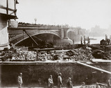 Construction of the Metropolitan District Railway, Blackfriars, London, c 1869.
