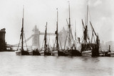 Boats on the Thames at Tower Bridge, London, c 1890s.