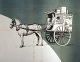 Horse-drawn London & North Western Railway delivery van, c 1920.