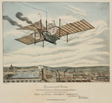 Henson's flying machine 'Ariel' over a city, 1843.