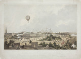 A hot-air balloon over Fancy Fair, Princes Park, Liverpool, 1849.