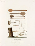 Various implements from the Society Islands, 1822-1825.