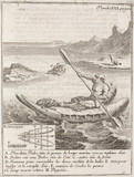 Chilean Indian paddling a boat, 1712-1714.