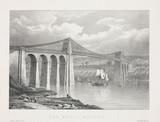 'The Menai Bridge', Wales, c 1830.