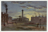 Gasworks at sunset, c 1850.