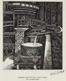 """'Running liquid iron from a Blast Furnace into portable ladles', 20th century."""