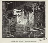 """""""'Pouring liquid steel from a steel furnace into a ladle ', 20th century."""""""