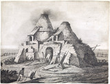 A lime kiln firing bricks, c 1831-1840.