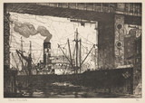 """'Steamer under a Bridge', early 20th century."""