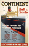 'The Continent via Hull & Goole', BR poster, 1952.