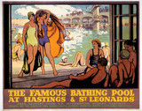 'The Famous Bathing Pool at Hastings and St Leonards, LMS poster, c 1920s.