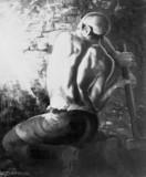 Miner wedging down coal, 1937-1938.