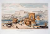 Suspension bridge, Pest, Hungary, c 1849.