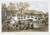 'Bridge of Cut Stone, and Entrance to a Temple, Simoda', c 1853-1854.