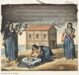 Araucano Indian women grinding corn and spinning, Chile, 1820-1821.