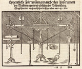 Instruments and plumb lines for determining horizontal measurements, 1548.