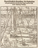 Using equipment and tools for constructing stone walls, 1548.