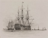 HMS 'Victory' in Portsmouth Harbour with a coal ship alongside, 1828.