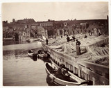 Fishing nets drying at Whitby Harbour, c 1905.