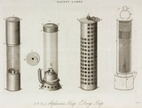 Stephenson's and Davy's safety lamps, c 1815.