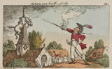 Baron Munchausen shooting his horse down from a church steeple, 1811.
