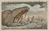 Sea monster devouring a fleet of ships, 1811.