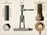 """Square thread screw, jack, and 'V' thread screw, 1856."""