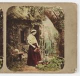 Woman watering plants, c 1870.
