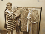 Twiggy with rail of 'Twiggy Clothes', 1967.