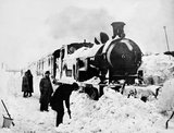 Locomotive in snow, about 1935