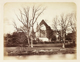 A ruined abbey, c 1855.