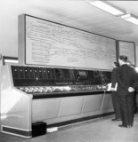 The new signal box control unit at Victoria Station, Manchester, 1962.