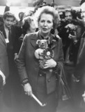 Margaret Thatcher with teddy, October 1985.