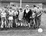 Margaret Thatcher kicking a football, Scunthorpe, September 1988.