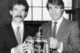 Graeme Souness and Mark Higgins with the Milk Cup, March 1984.
