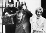 Nigel Lawson with budget box, March 1985.