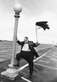 Cyril Smith in gale force winds, Southport, September 1978.