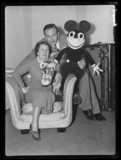 Mr & Mrs Walt Disney with Mickey Mouse, London, 1935.