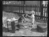 A small boy feeding a dog, 1932.