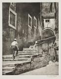Man climbing steps.;