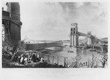 The Britannia Tubular Bridge under construction, 3 December 1849.