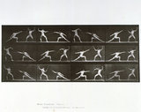 Nude male athletes fencing, photograph by Muybridge, c 1872-1885.