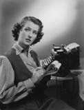 Secretary making notes, 1951.