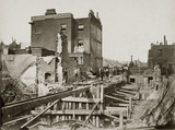 Construction of the Metropolitan District Railway, Praed Street, London, c 1867.