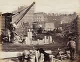 Construction of the Metropolitan District Railway, Victoria, London, c 1869.