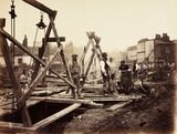 Construction of the Metropolitan District Railway, London, c 1869.