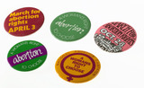 National Abortion Campaign badges, 1970-1981.