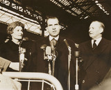 Richard Nixon with his wife and Selwyn Lloyd, London, 1958.