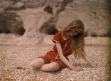 Christina sitting on the Beach c. 1913.