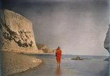 Christina walking on the beach, c 1913.